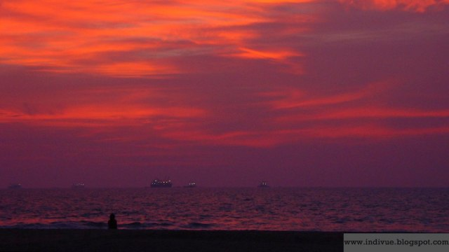 Red sky after sunset in Goa India