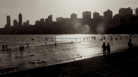 People in Chowpatty beach Mumbai India