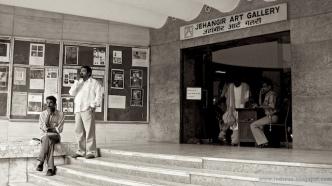People outside Jehangir Art Gallery in 2006