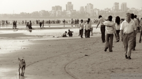 Juhu Beach Mumbai in sepia colors