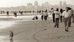 Juhu Beach Mumbai in sepia colors