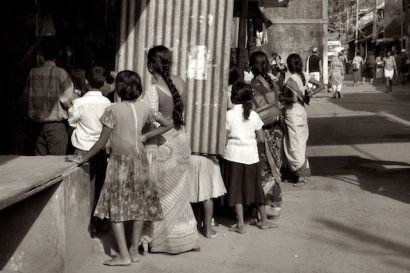 Women and children on the street of Gokarn, India