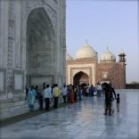 Tourists by Taj Mahal in Agra, India