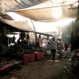 Stalls with sun shade in Anjuna Flea Market, Goa