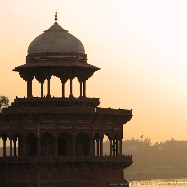 View from Taj Mahal, Agra, India, during sunset time