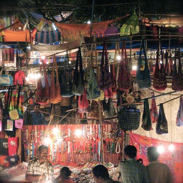 Bags for sale in Ingo's Saturday Nite Bazar, Goa
