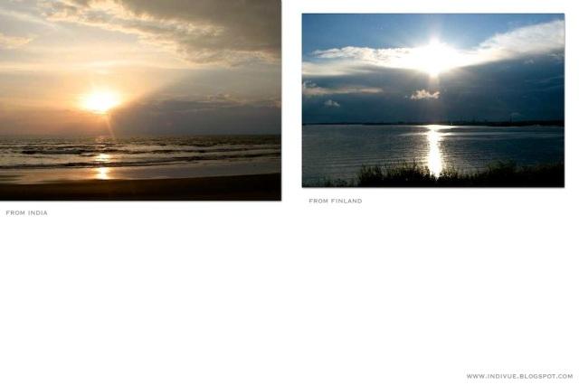 Intialainen auringonlasku ja suomalainen auringonlasku - Indian sunset and Finnish sunset