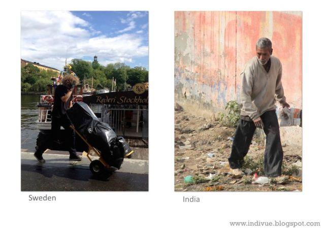 Raw material collector in Sweden and in India - Raaka-aineiden keräilijä Ruotsissa ja Intiassa