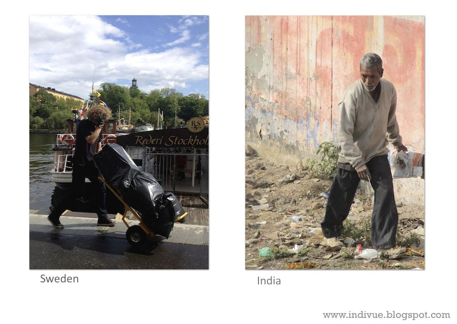 Raw material collector in Sweden and in India