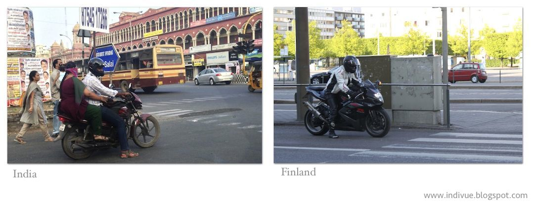 Motorcycles in India and in Finland