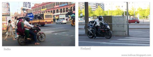 Moottoripyörä Intiassa ja moottoripyörä Suomessa - Motorcycle in India and motorcycle in Finland