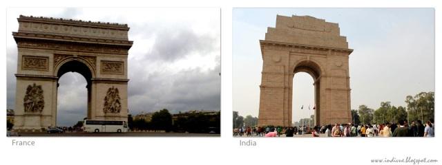 Monumentit Ranskassa ja Intiassa: Riemukaari ja Indiagate - Monuments in France and in India: Arc de Triomphe and Indiagate