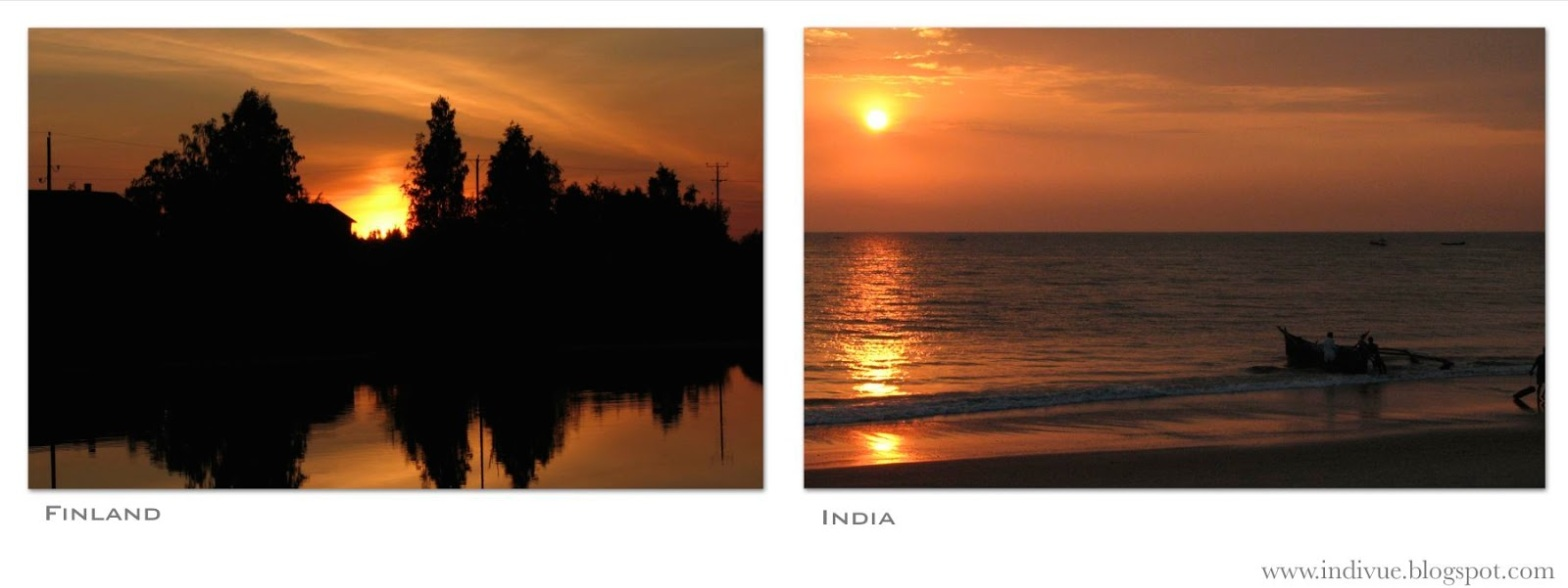 Sunsets in Finland and in India