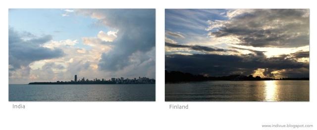 Mumbai's skyline and Helsinki's skyline with sunset - Mumbain siluetti ja Helsingin siluetti kera auringonlaskun