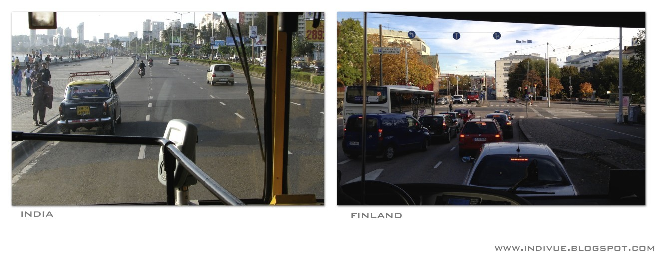 Inside Indian and Finnish buses