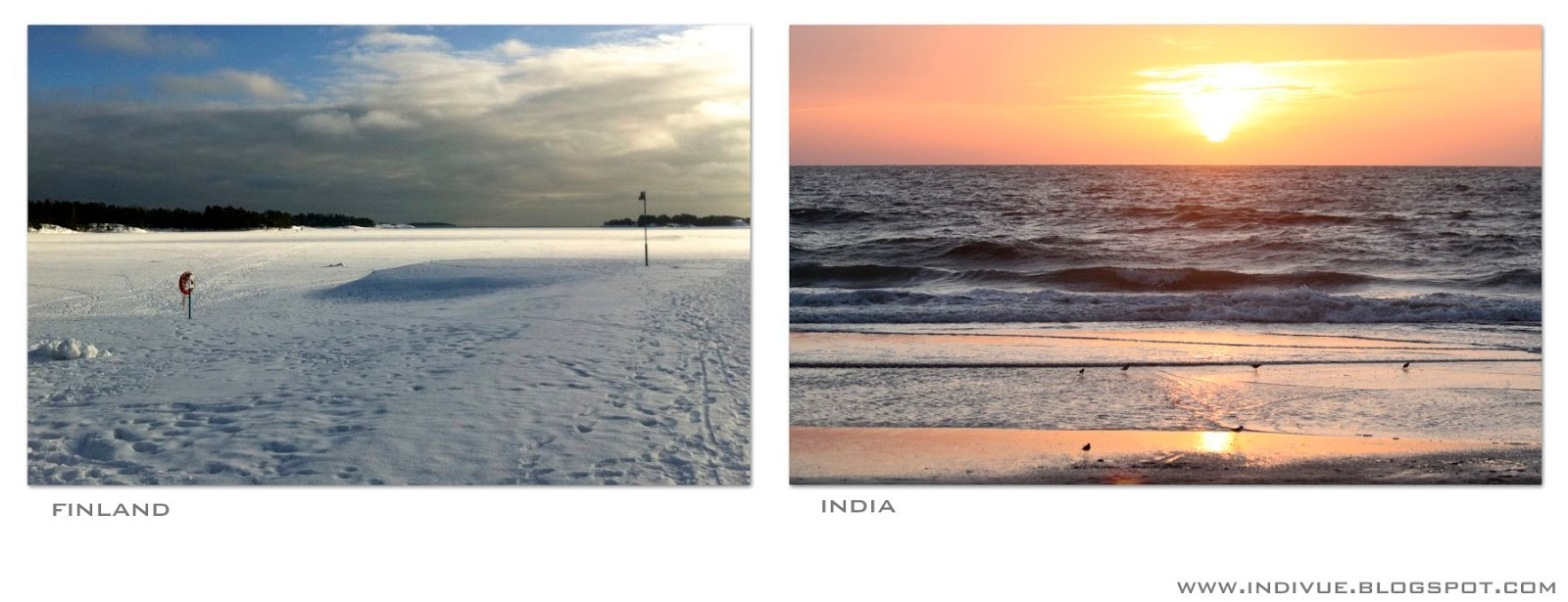 Seas in February in Finland and in India