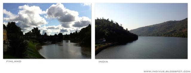 Joki Suomessa ja joki Intiassa - River in Finland and river in India