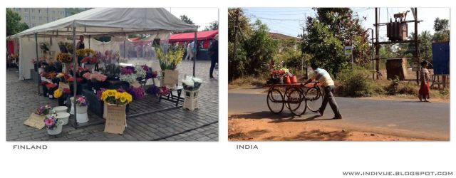 Outdoor flower shop in India and in Finland - Ulkoilmakukkakauppa Intiassa ja Suomessa