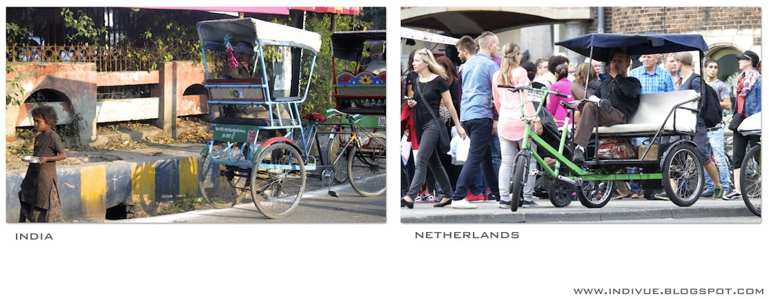 Bicycle rickshaws in India and in Netherlands