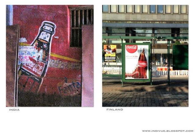 oca-Cola-mainos Suomessa ja Intiassa - Coca-Cola-ad in Finland and in India