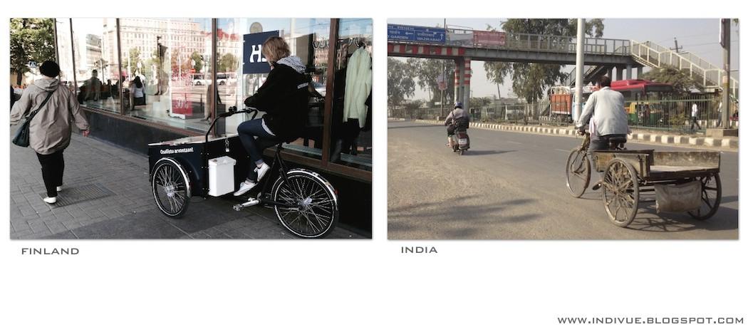 Kolmipyöräinen Suomessa ja Intiassa - A Three-wheeler in India and in Finland