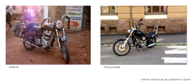 Moottoripyörä Intiassa ja moottoripyörä Suomessa - a Motorcycle in India and a motorcycle in Finland