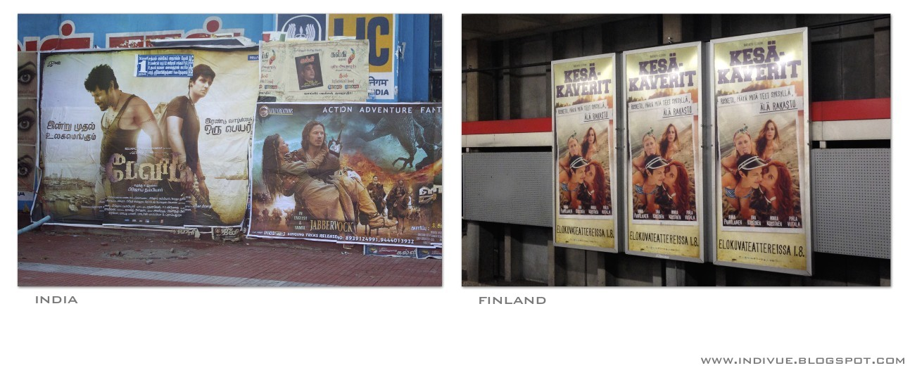 Movie posters in India and Europe
