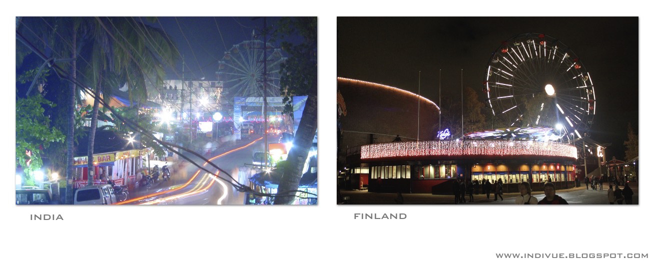 Ferris wheels in India and in Finland