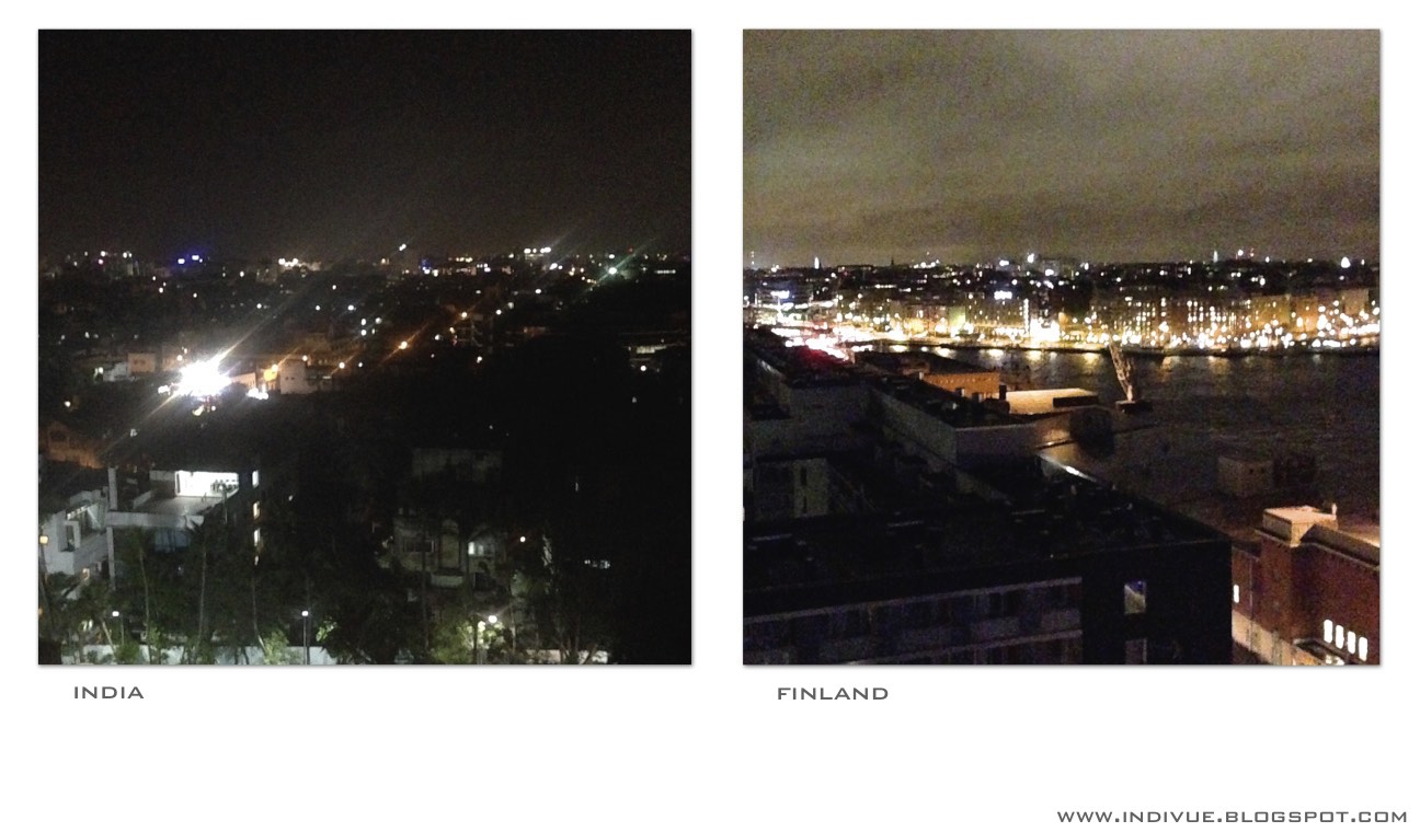 Night in a city in India and in Finland