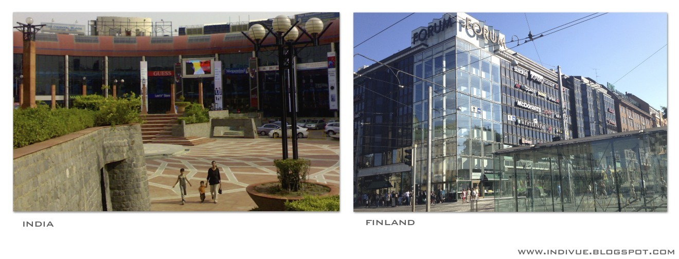Shopping malls in India and in Finland