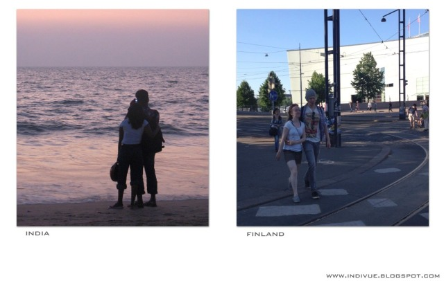 Lovers in Finland and in India