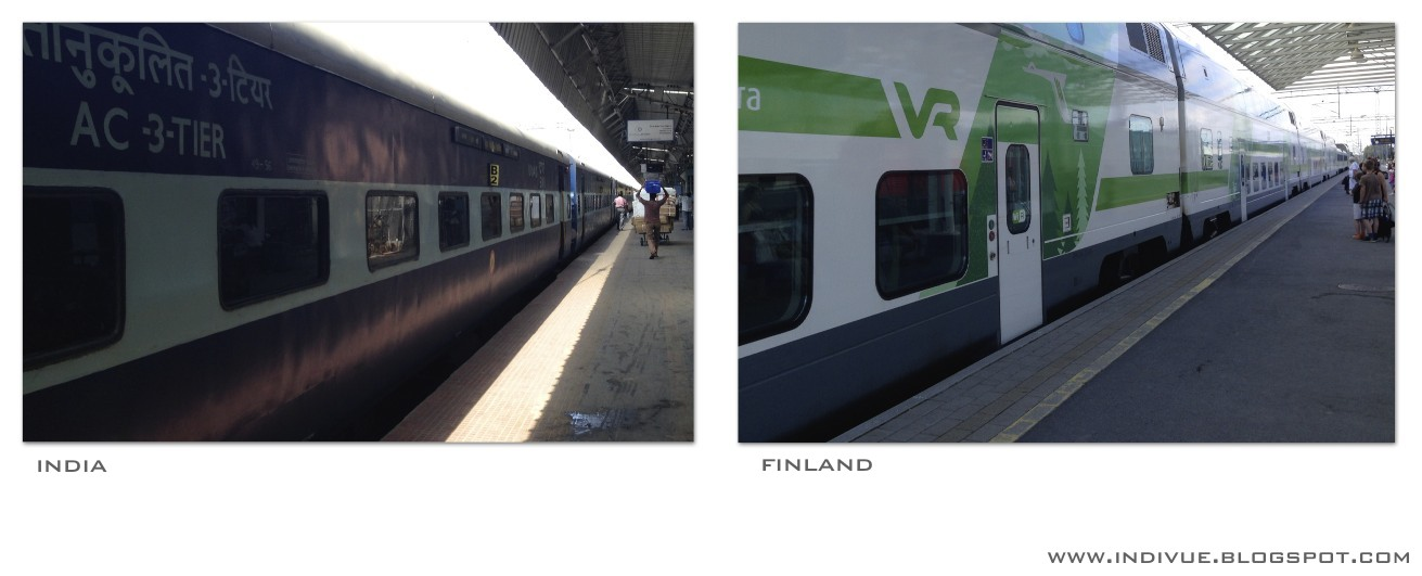 Train stations in India and in Finland