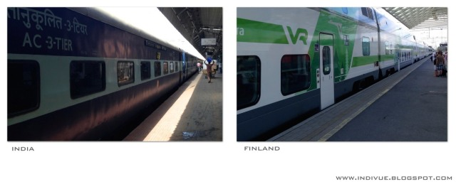 Trainstation, Finland and India