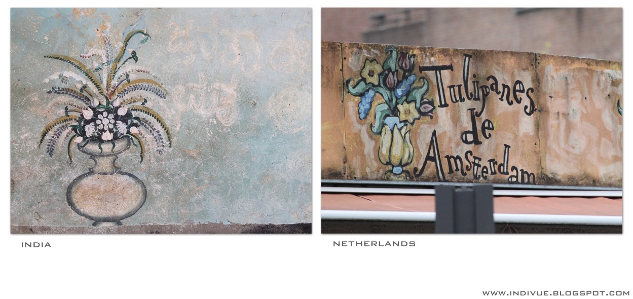Wall paintings in India and Netherlands