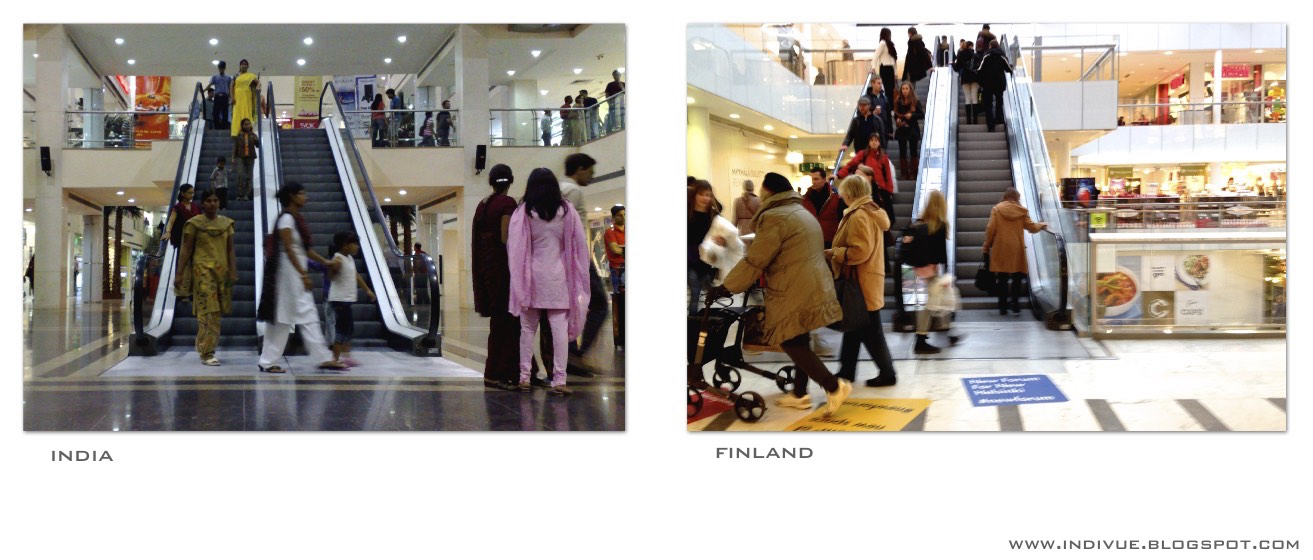 Escalators in India and in Finland