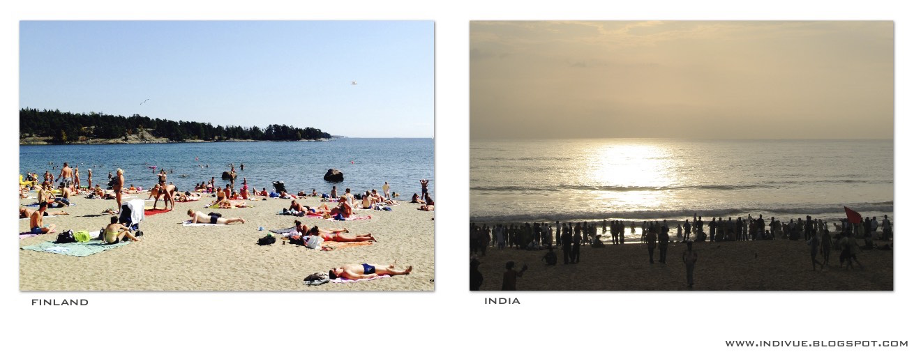 People on the beach in Finland and in India