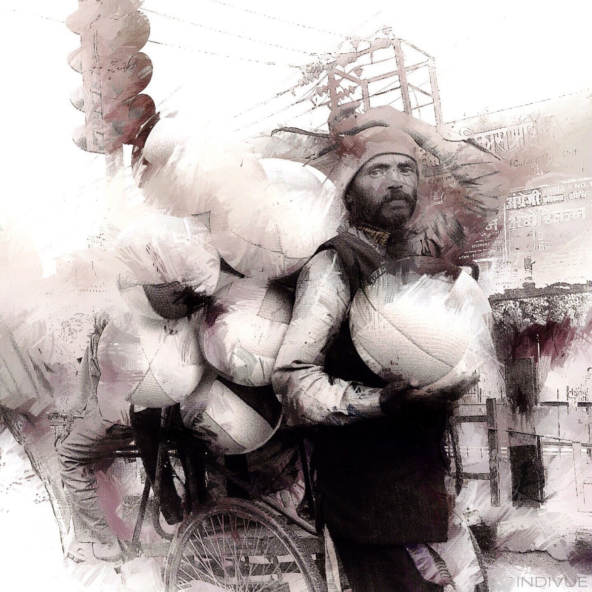 Portrait of a working man in Delhi
