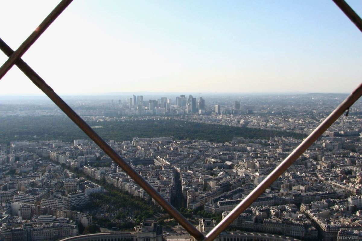 View from top of the Eiffel Tower in Paris France