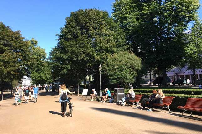 Esplanadi park in Helsinki centre July 2018