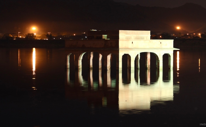 Jaipur and Jal Mahal in the nighttime