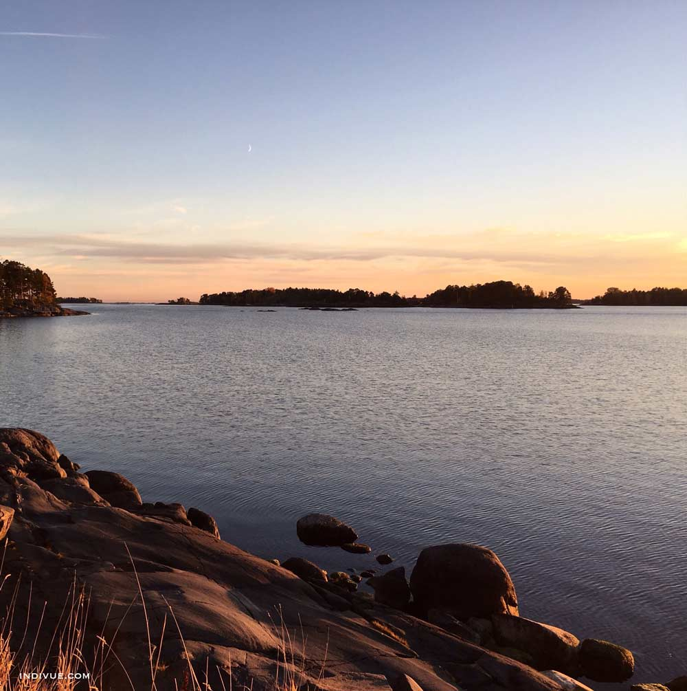 Peaceful beach in Helsinki during sunset