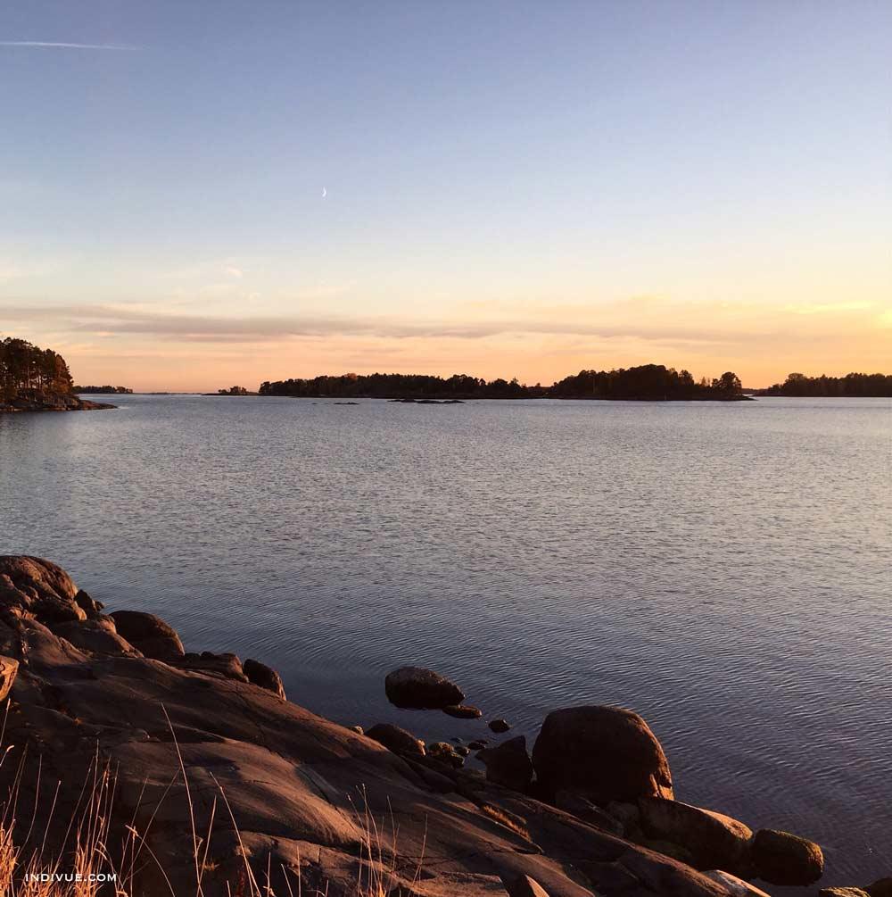 Peaceful beach in Helsinki during sunset