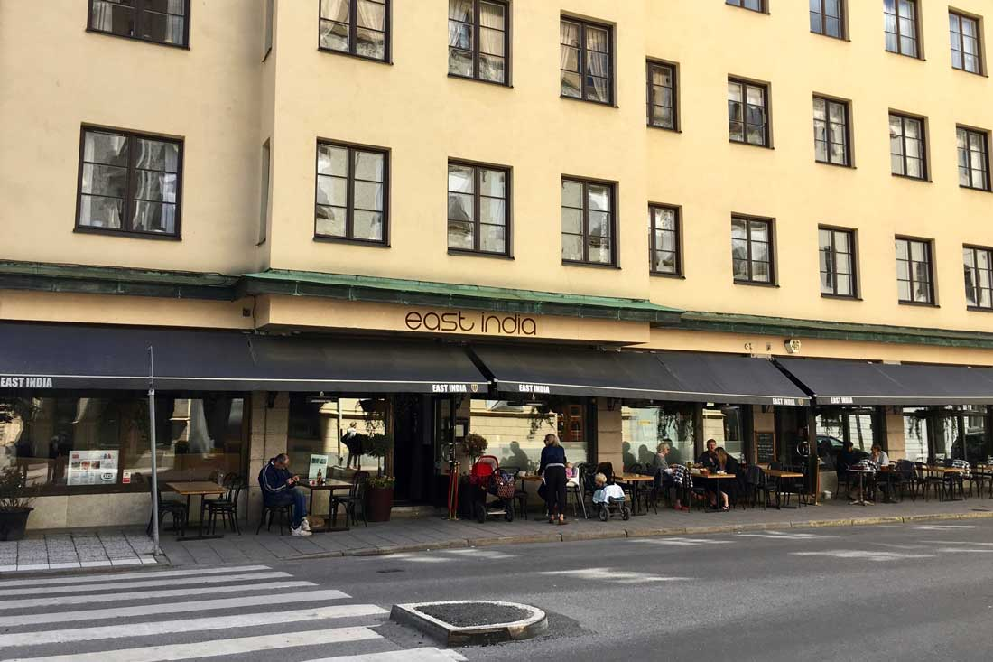 East India restaurant had a nice terrace by the street of Kommendörsgatan in Stockholm