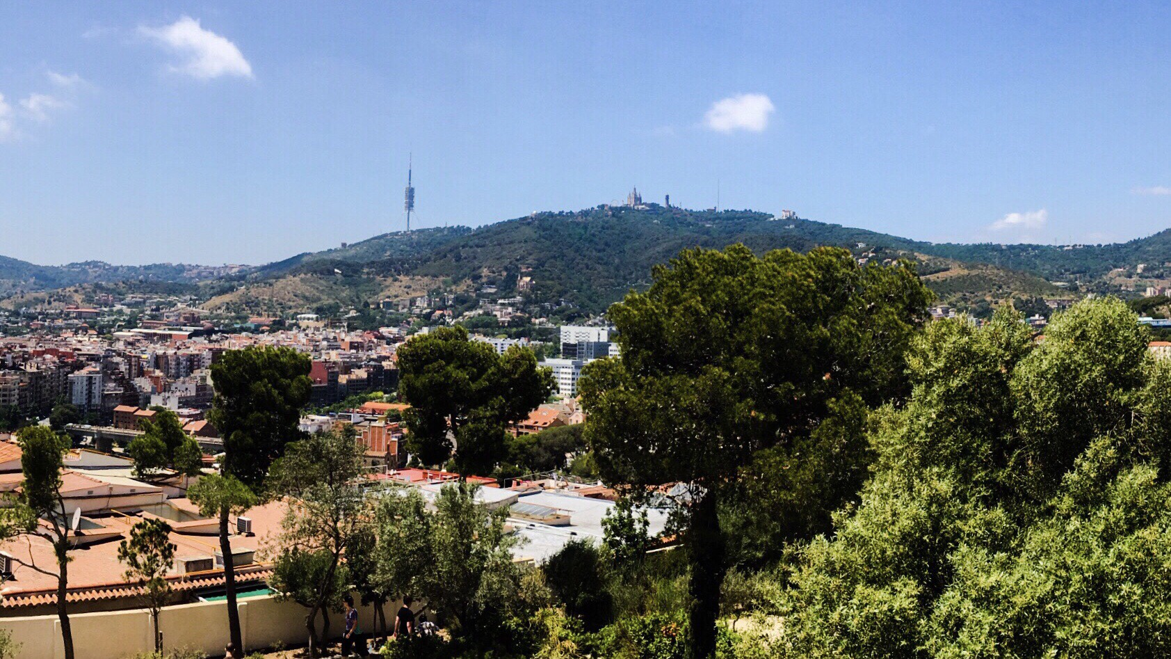 Tibidabo on the hill; view from Park Quell, Barcelona