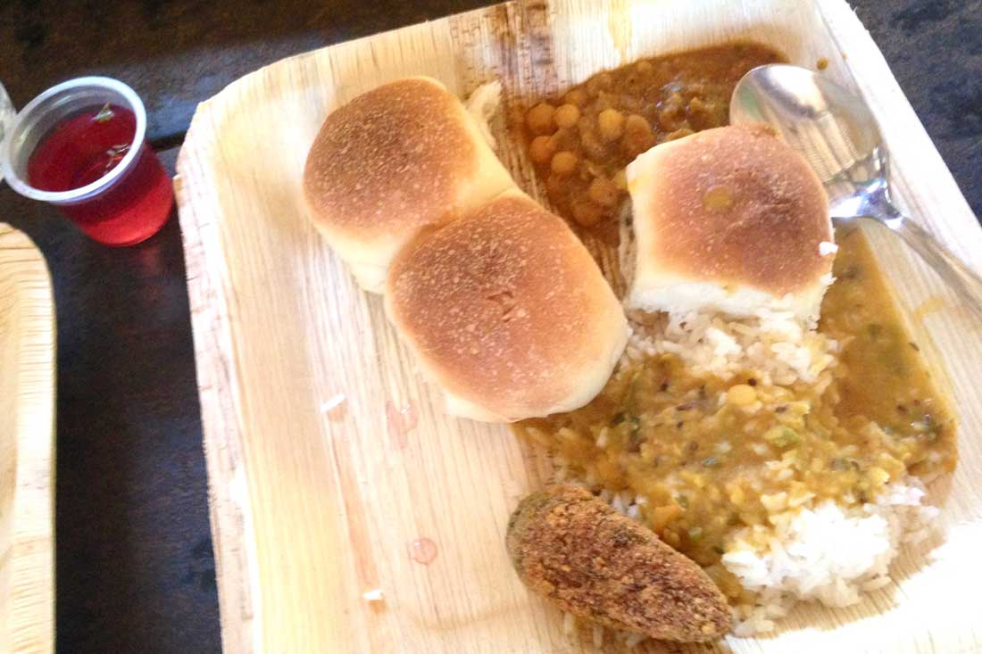 Goan lunch: rice and dal and pao-bread