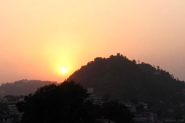 Sunset behind the mountain in Mussoorie