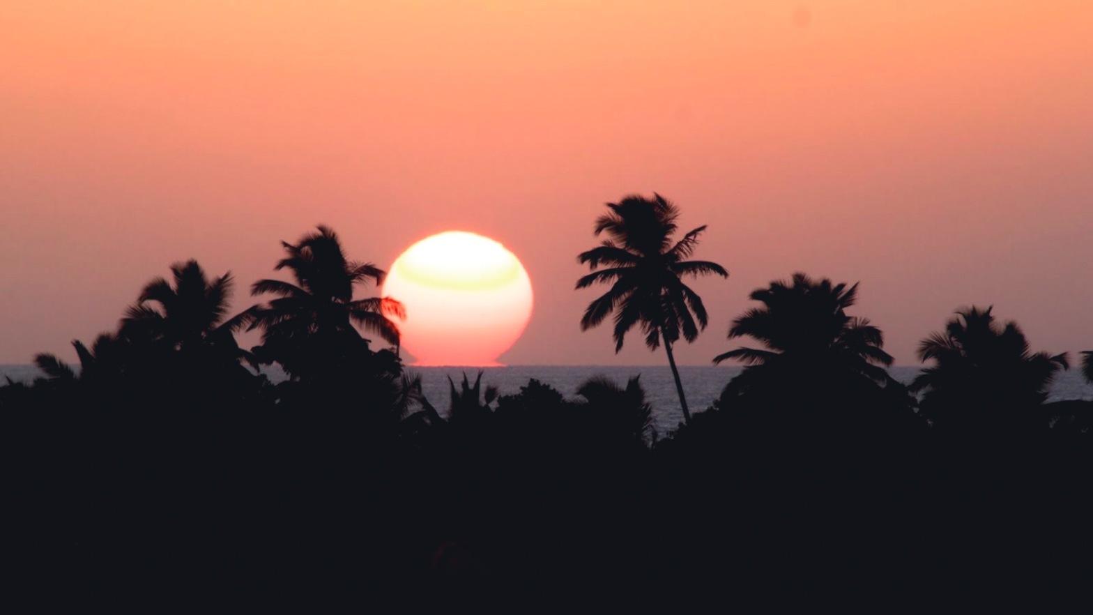 Sunset in Goa sea horizon