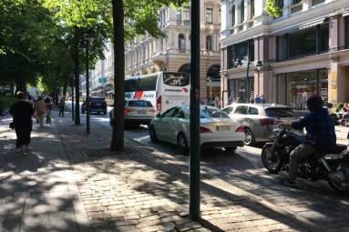 Traffic in North Esplanadi street in Helsinki centre