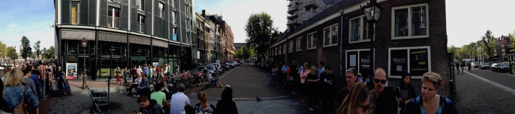 Panorama of the queue for Anne Frank museum in Amsterdam