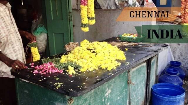 Garland maker in Chennai India